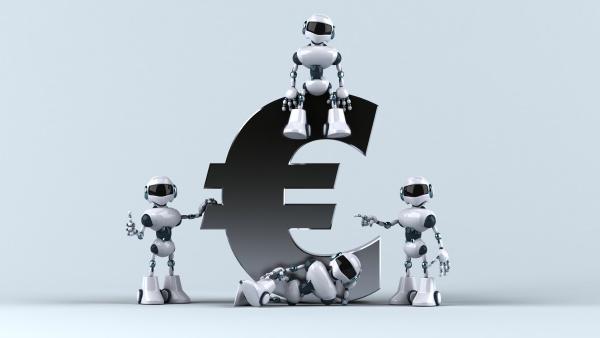 fun robots next to a euro