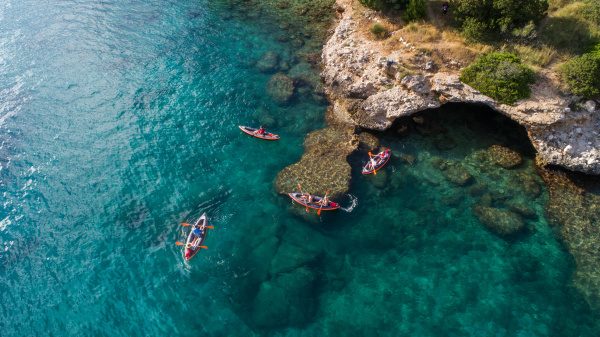 aerial view of kayakers near drvenik