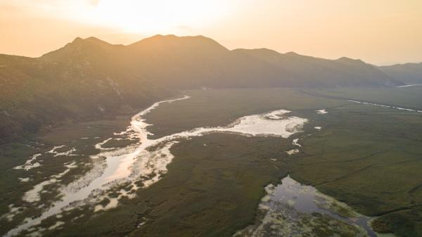 aerial view of kuti lake landscape