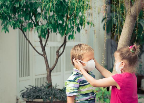 man wearing facial disposable mask virus