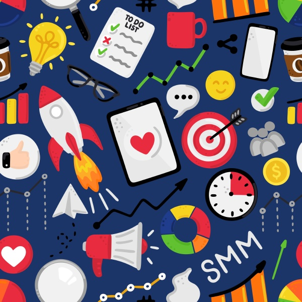 vector seamless pattern with smm elements