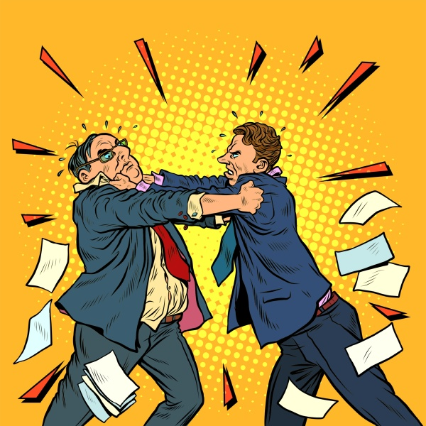 businessmen fighting conflict competition