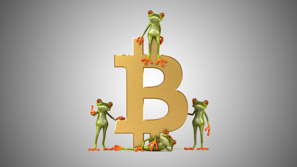 3d illustration of frogs with bitcoin