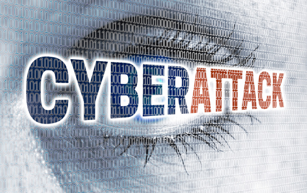 cyberattack eye with matrix looks at