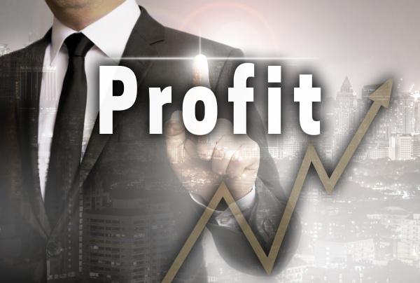 profit is shown by businessman concept