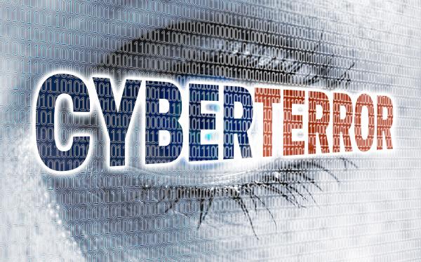 cyberterror eye with matrix looks at