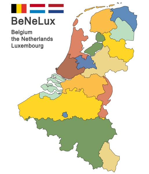 benelux, countries, colored - 28238969