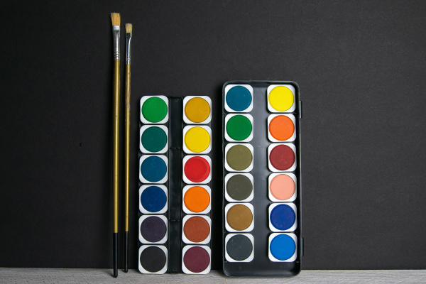 colorful, paints, stand, on, a, wooden - 28238389