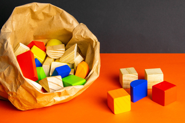 colorful, wooden, cubes, scattered, on, an - 28238748