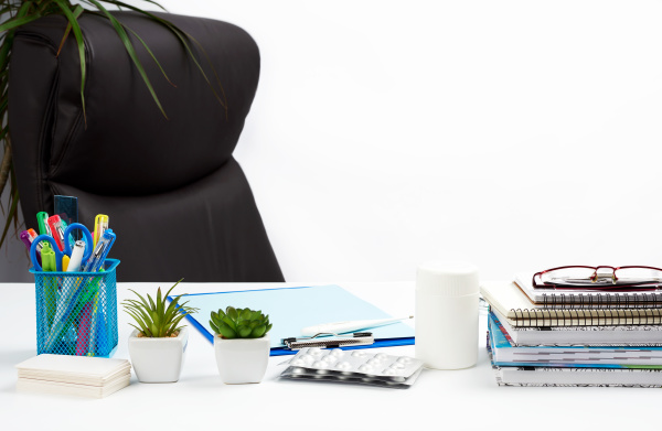 desk, with, stationery, and, empty, brown - 28238639