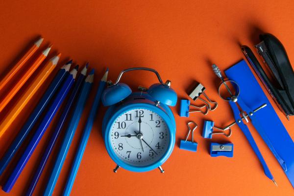 pencils, , blue, alarm, clock, , compass, , ruler - 28238426
