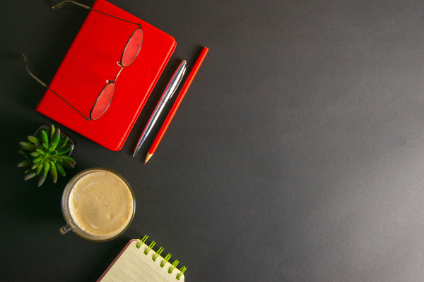 the, red, notebook, stands, on, a - 28238405