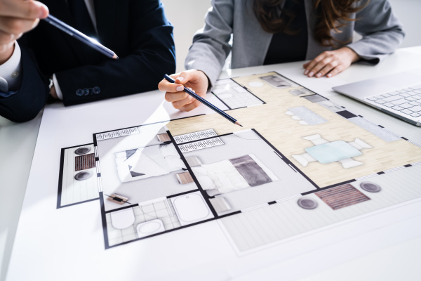 two, architects, discussing, blueprint - 28238037