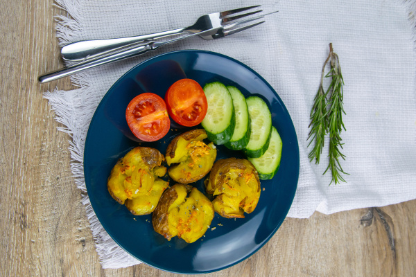 baked, potatoes, with, cheese, , and, salad - 28239626