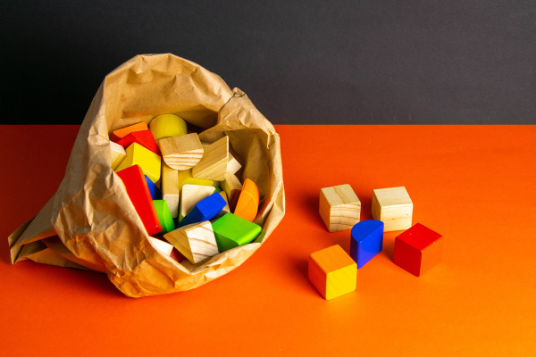 colorful, wooden, cubes, scattered, on, an - 28239855