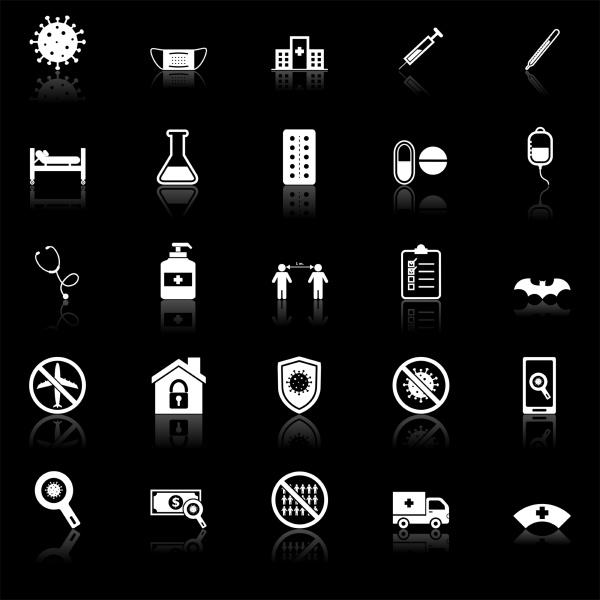 coronavirus, icons, with, reflect, on, black - 28239826