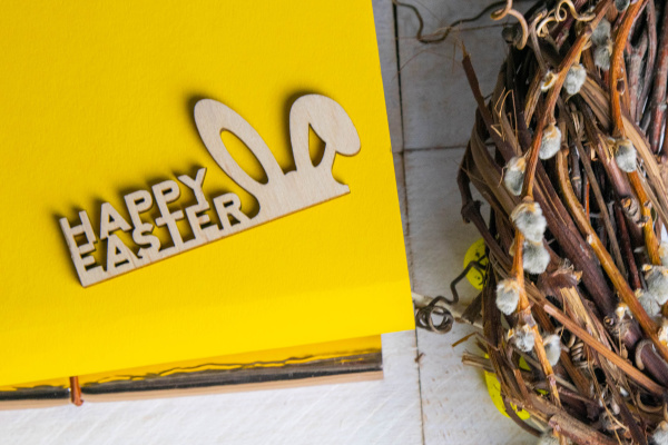 easter, concept, , yellow, notepad, with - 28239348