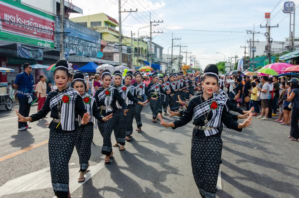 yasothon rocket festival street parade dancers