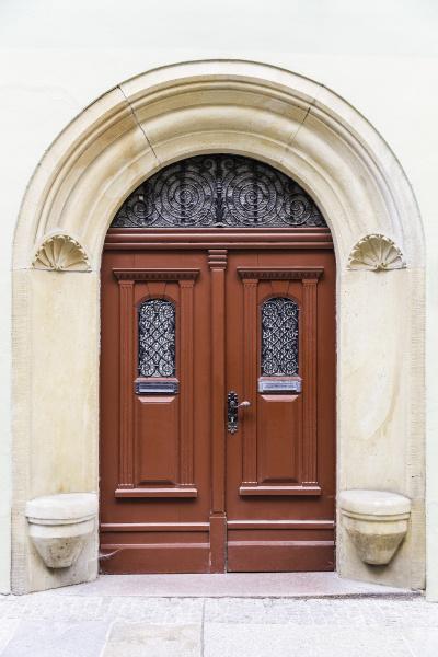 red brown front door in art