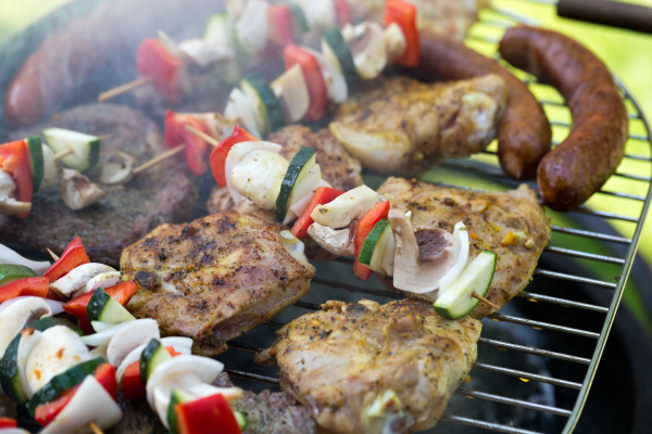 barbecue, with, delicious, grilled, meat, and - 28240371