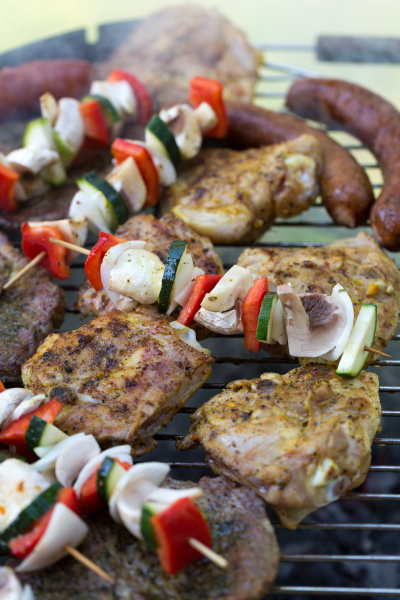 barbecue, with, delicious, grilled, meat, and - 28240372