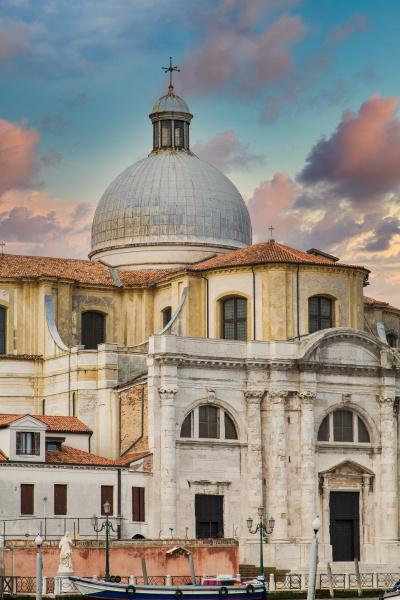 facade and dome on venice church
