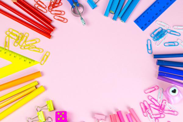 multi colored pencils rulers pens