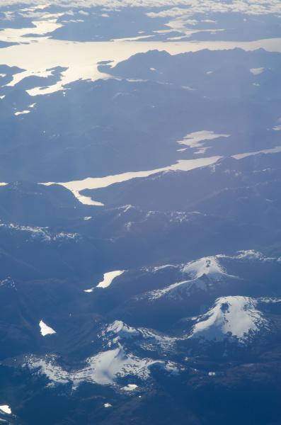 aerial view of chilean patagonia from