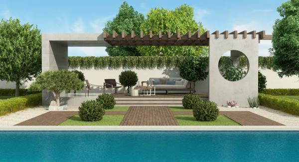 luxury garden with concrete gazebo and