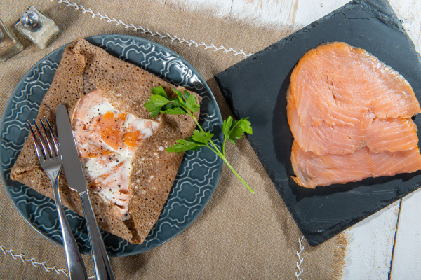 breton crepe with salmon fillets