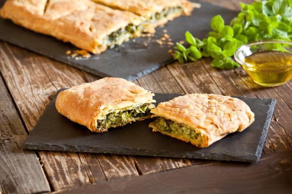slices of homemade greek spinach pie