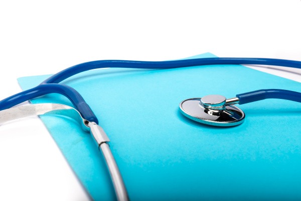 medical, record, and, blue, stethoscope, close-up - 28257603