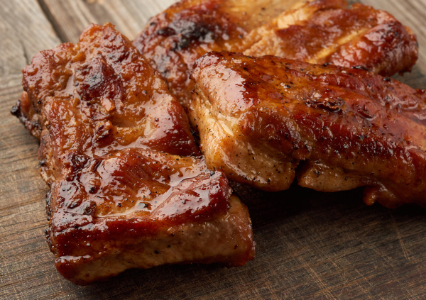 fried pork ribs on a brown