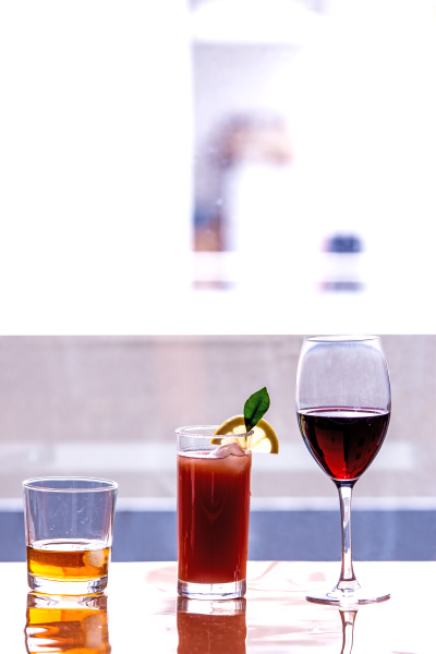 drinks at a window