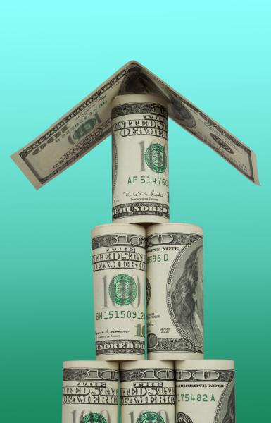 pyramid of hundred dollar bills with