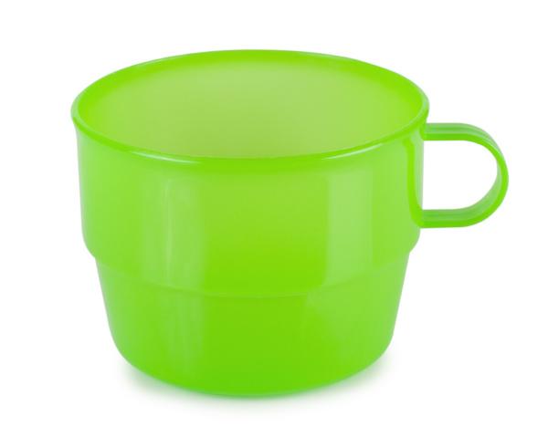 green plastic cup