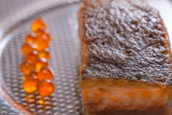fried salmon fish with skin and