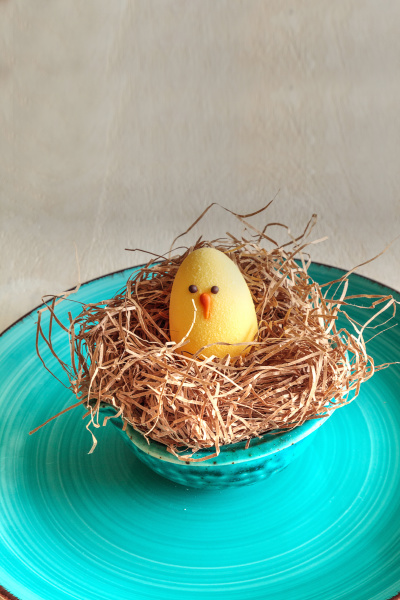 chocolate egg in an easter basket