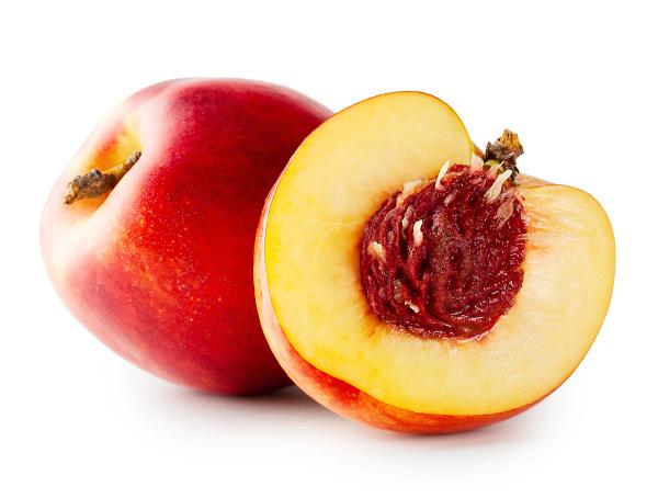 cut juicy nectarine with bone