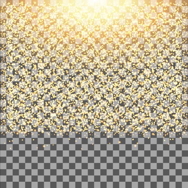 gold glow glitter sparkles on transparent