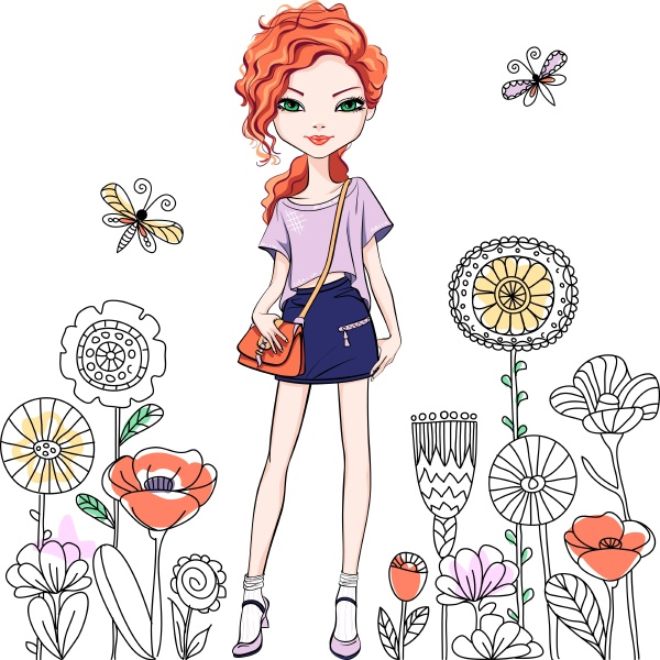 cute beautiful redhead girl with long