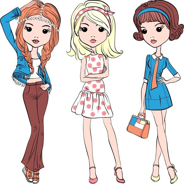 vector set hipster fashion cute girl