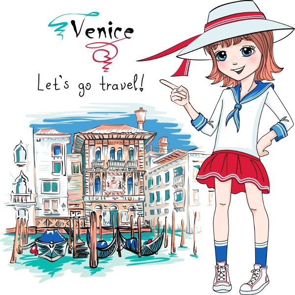 cute fashion girl in venice italia