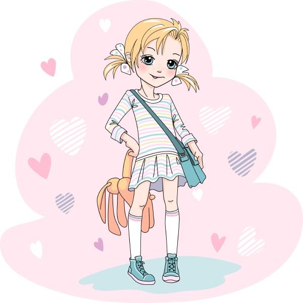 vector cute baby blond girl in