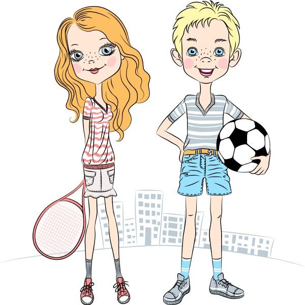 vector girl with a tennis racket