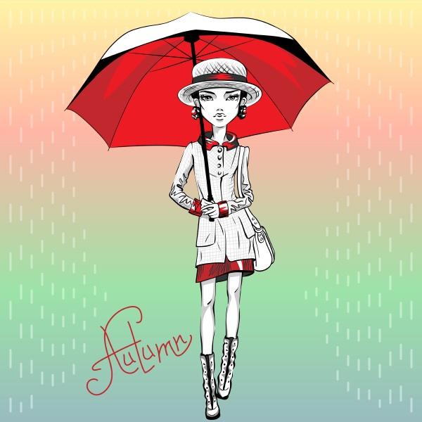 vector fashion girl in autumn clothes