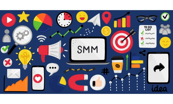 vector background with smm elements