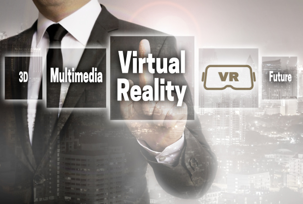 virtual reality businessman with city background