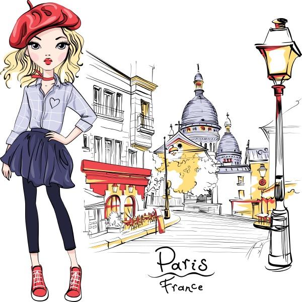 vector fashion girl in paris
