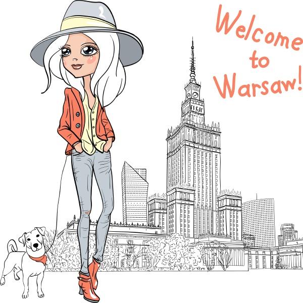 vector beautiful fashion girl in warsaw